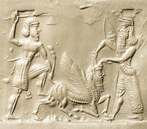 Mesopotamia - engraving depicts Enkidu, Gilgamesh and the Bull of Heaven