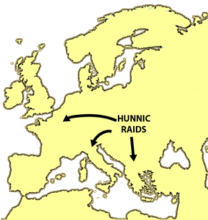 The Middle Ages - the Huns - Map of Hunnic Raids