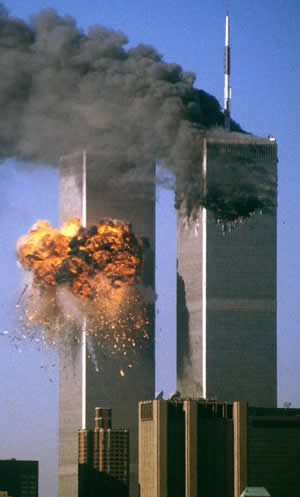 The World Trade Center under attack on September 11, 2001