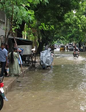 Flooding after an Indian monsoon