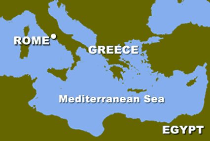 Rome identified on a map of Southern Europe