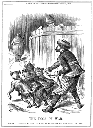 "World War I - This cartoon from the British magazine Punch, describes Russia releasing the ""dogs of war"" on the Ottoman Empire as the European policeman looks on."