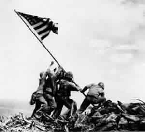The World Wars -Soldiers raising the American flag at Iwo Jima