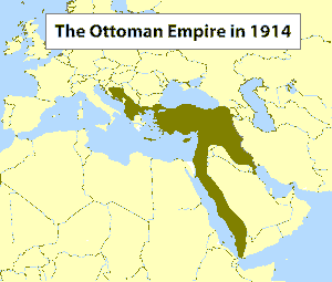 World War I - Map of the Ottoman Empire in 1914