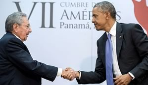 Barack Obama and Raul Castro meet