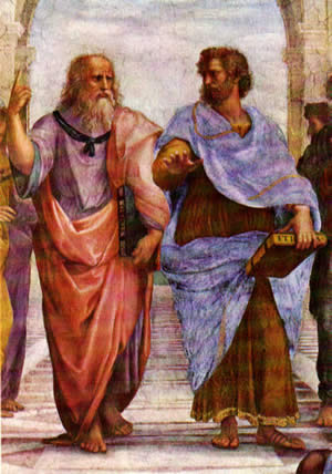 """Aristotle and Plato in Raphael's """"The School of Athens."""""""