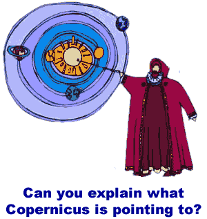Cartoon of Copernicus describing the heliocentric universe.